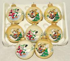 DISNEY - VTG - Ball - Mickey Mouse - Minnie & Pluto Christmas Ornaments Set of 8