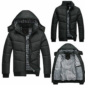 Mens-Slim-Jacket-Warm-Thick-Hoodie-Hooded-Cotton-Down-Coat-Parka-Winter-Outwear