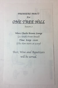 ONE-TREE-HILL-set-used-SEASON-2-PREMIERE-PARTY-FLIER-with-map-on-back