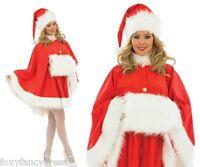 Deluxe Santa CAPE & Hat & Furry Hand Muff Miss Christmas Fancy Dress S- XL