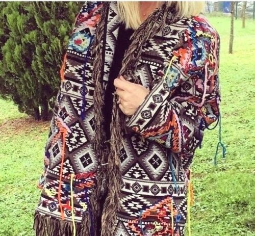 Zara Fringe embroidered Jacquard Coat Cappotto Kimono Giacca Frange RICAMO