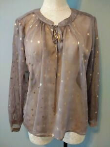 Bisou-Bisou-Womens-M-Light-Brown-Gold-Sheer-Long-Sleeve-Blouse-Michele-Bohbot