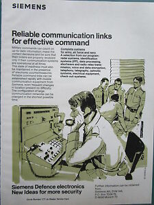 12/1982 Pub Siemens Defence Electronics Military Command Communications Army Ad 4ch6mhib-07231325-515249903