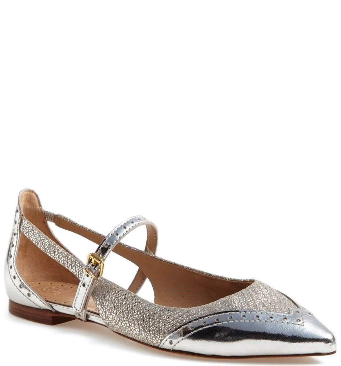 NIB – Tory Burch Burch Burch Bernadette Flat- Silver Metallic -  Size 10 81e9ad