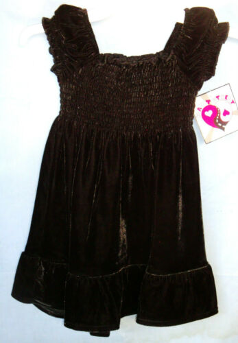 HART STREET Stretch Black Short Sleeve Velour Dress w//Shirring GIRL SIZES NWT