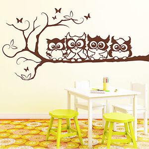 10344 wandtattoo 4 eulen freunde auf einem ast 4 gr en 49 farben eule owl ebay. Black Bedroom Furniture Sets. Home Design Ideas