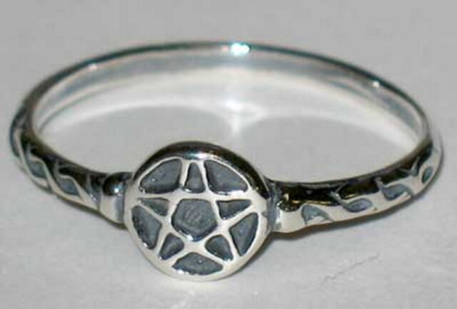 RING: SIZE 6 PENTAGRAM  SILVER 925 - Wicca Pagan Witch Goth Punk Charmed Occult