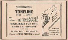 Y7277 Huile pour autos TONELINE - Pubblicità d'epoca - 1928 Old advertising
