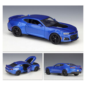 Maisto-1-24-Scale-2017-Blue-Chevy-Chevrolet-Camaro-ZL1-Muscle-Car-Diecast-Model