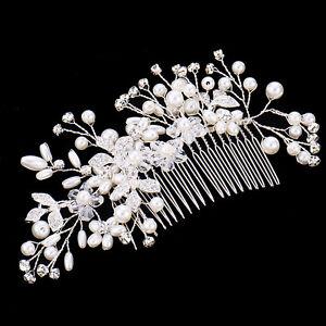 Wedding-Bridal-Jewellery-Rhinestone-Crystal-Flower-Pearls-Hair-Comb-Clip-Silver