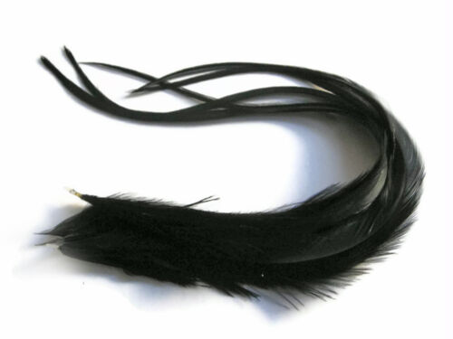 6 Pieces XL Solid Black Thick Extra Long Rooster Hair Extension Feathers