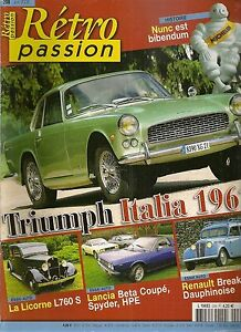 Charmant Retro Passion 208 Triumph Italia 1961 La Licorne L760 S Lancia Beta Coupe Spyder Pourtant Pas Vulgaire