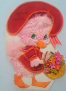 Vintage-Grandpa-amp-Grandma-Easter-Duck-Die-Cut-Embossed-Greeting-Card-unused