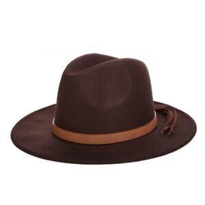 053ff850e3a86 Fedora Hat Classical Wide Brim Felt Floppy Autumn Winter Sun Hat for ...