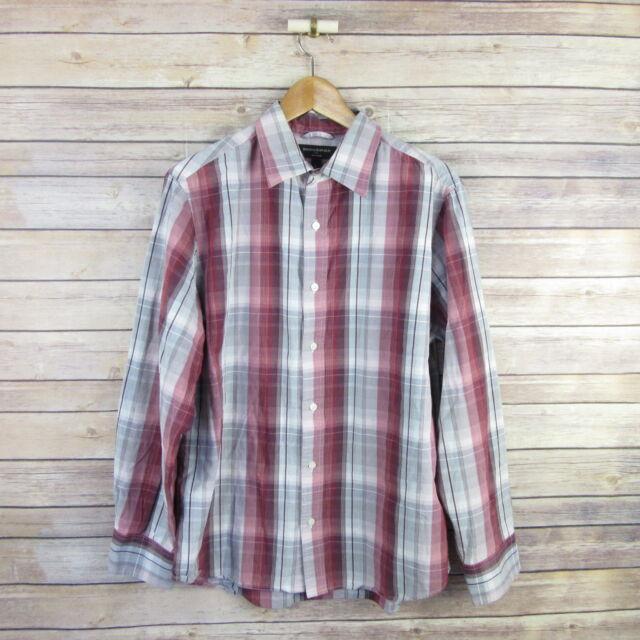 BANANA REPUBLIC Men's Soft Wash Long Sleeve Button Front Shirt L Large Plaid