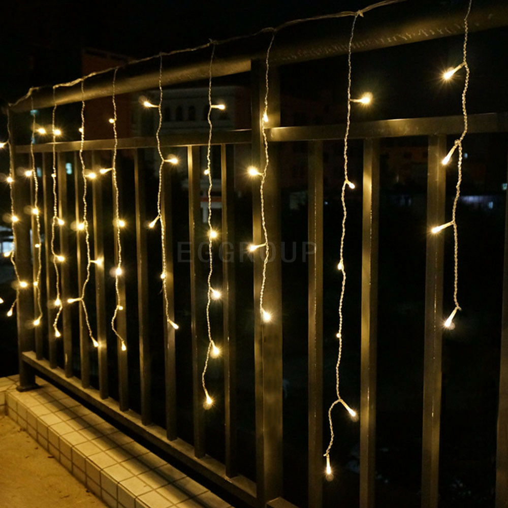 Outdoor Hanging String Lights Led: 3M 96LED Outdoor Hanging Icicle Curtain String Light Xmas