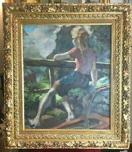 Andre-Hofer-1890-1973-Realisme-Tableau-Jeune-Fille-a-l-039-abreuvoir-Peinture-signe