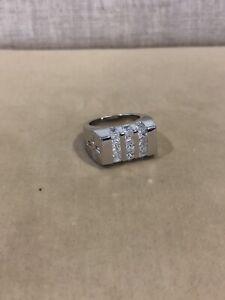 100% De Qualité .925 Argent Sterling Hommes Taille Princesse Croix Baguette White Stone Ring Sz 6 7-afficher Le Titre D'origine RafraîChissant Et Enrichissant La Salive