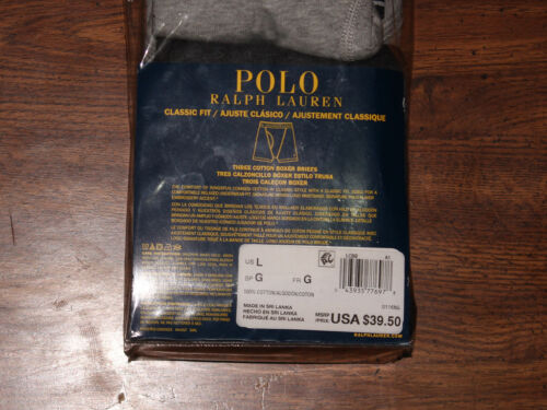 New Polo Ralph Lauren 3 Pack Classic Fit Cotton Boxer Briefs Gray//Black S,M,L,XL
