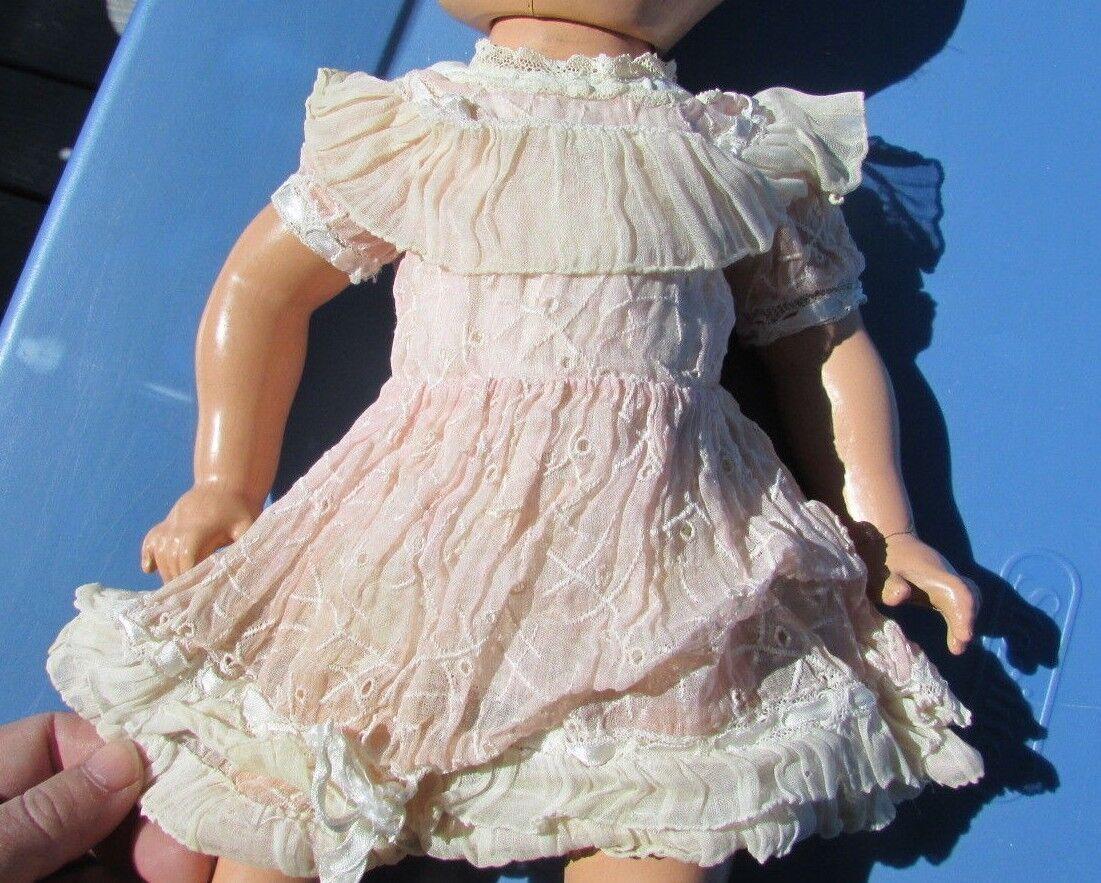 Mariquita Perez Muñeca Organdí Ojal rosado Party Dress 1940s etiquetado Raro