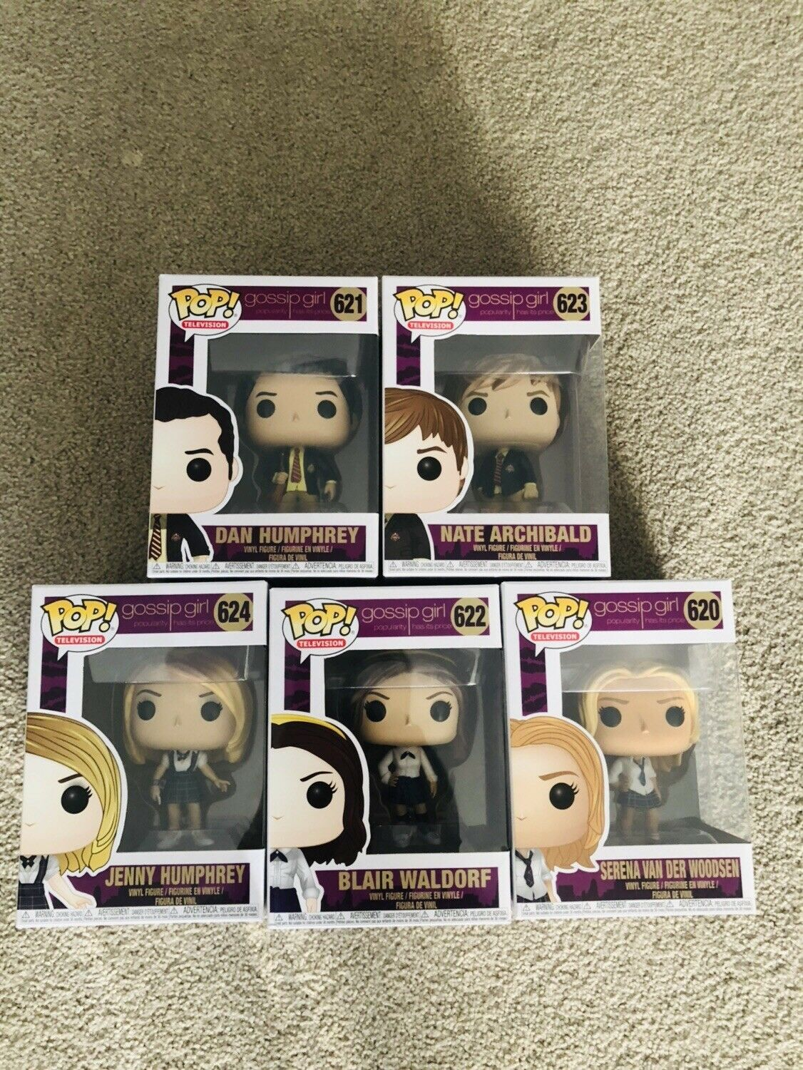Funko Pop Gossip Girl Bundle Set Of 5 - Serena, Dan, Blair, Nate, Jenny (BNIB)