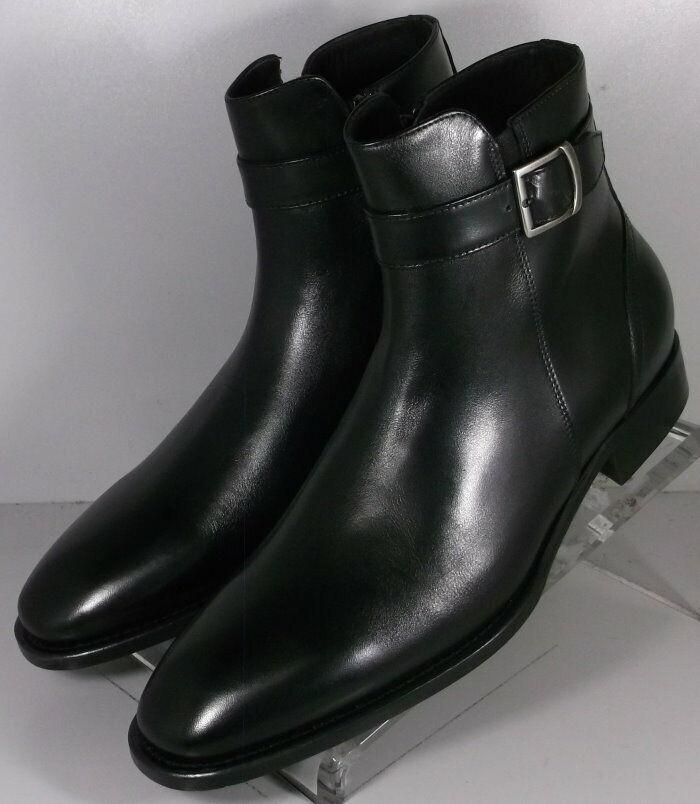 botas para hombre 241931 esibt 60 11.5 M Negro Cuero Hecho en Italia Johnston & Murphy