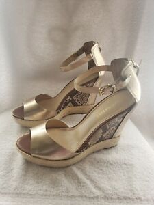 Snakeskin  Espadrille Wedge Sandals 10M,Enzo Angiolini IMPLOSION Gold Tan Black