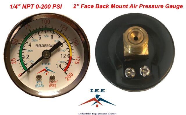 "1//4/"" NPT 0-200 PSI Manometer Pressure Gauge Compressor 2/"" Face"