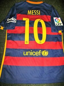 big sale bf05d 44dfa Details about Authentic Messi Barcelona Player Issue Jersey 2015 2016 Shirt  Camiseta Maglia L