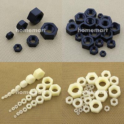 M2 M2.5 M3 M4 M5 M6 M8 M10 M12 M14 M16 M18 M20 White Plastic Nylon Hex Full Nuts