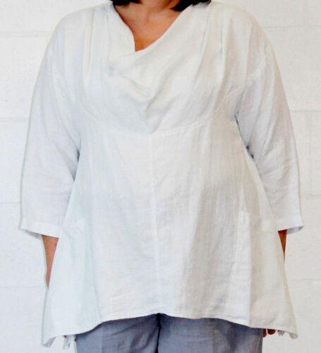 Mosaic 2365 douce Lin Linen Drapé Cou Poche Haut Tunique S M L XL Blanc