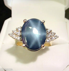 GENUINE-BLUE-STAR-SAPPHIRE-11-33-CTS-and-36-TCW-DIAMONDS-14K-GOLD-RING