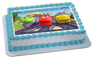 Excellent Chuggington Trains 3 Edible Birthday Cake Topper Or Cupcake Funny Birthday Cards Online Overcheapnameinfo
