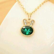 Rhinestone gold rabbit necklace green
