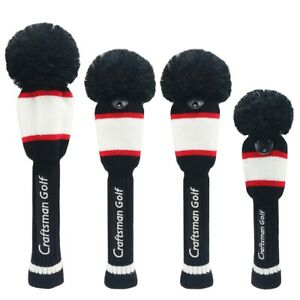Black-White-Red-Hybrid-Rescue-Headcover-Pom-Pom-Knit-Driver-Fairway-Wood-Cover