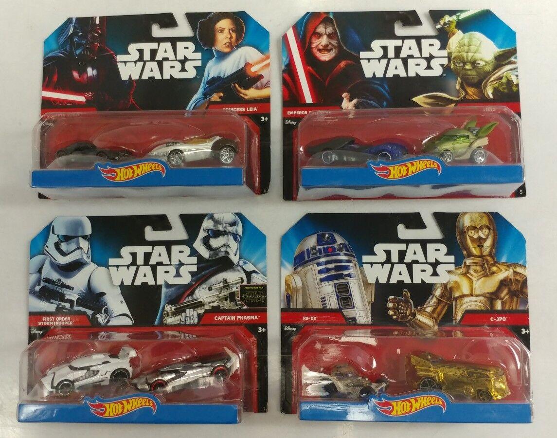 4 New Star Wars Hot Wheels Lot Emperor Yoda Leia Vader Phasma Stormtrooper C3PO