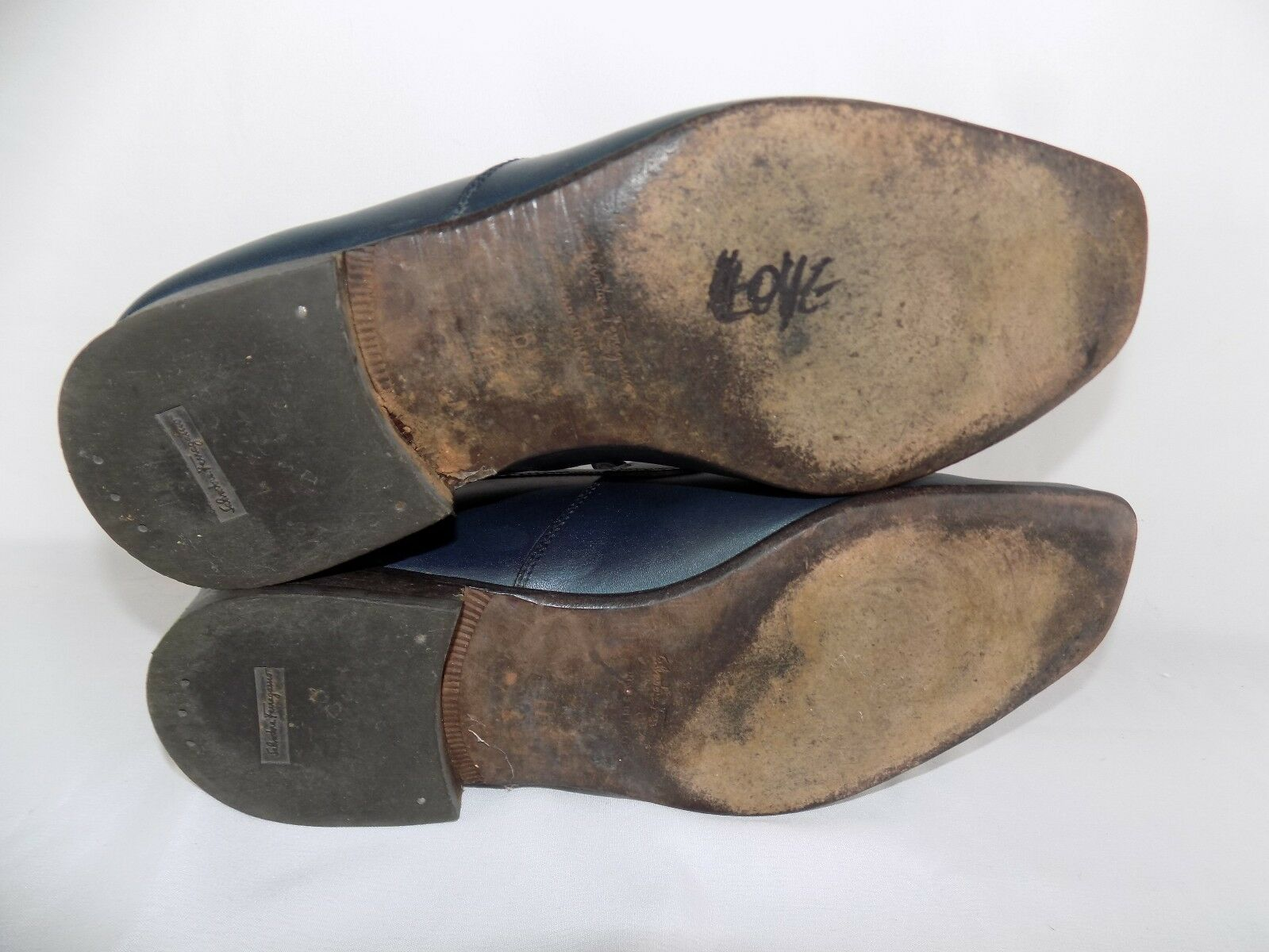 Zapatos De Cuero Salvatore Ferragamo Azul Mocasines EE Para mujeres 6.5 EE Mocasines Hecho en Italia 45e64f