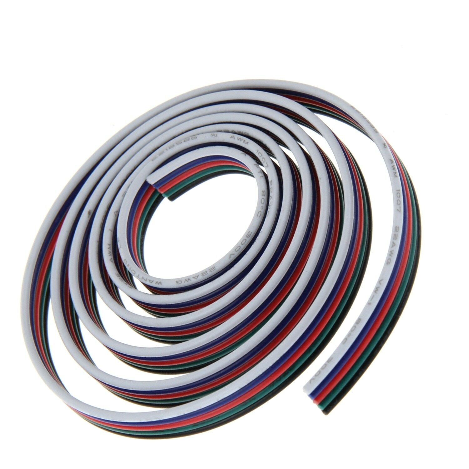 5x 0,5 mm² 20 AWG RGB-W digitai 5-conductores, alargador, METERWARE