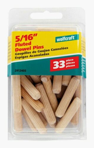 "Wolfcraft FLUTED DOWEL PINS 5//16/"" Natural 33pc Accurate Furniture Repair 2912405"