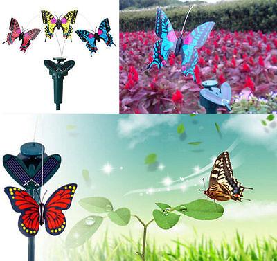 2016 Vibration Solar Power Dancing Flying Fluttering Butterflies Garden Decor