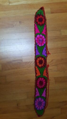 "Mexican Colorful Embroidered Flowers Wide Corset Belt 4/"" wide Adjustable M//L 38"
