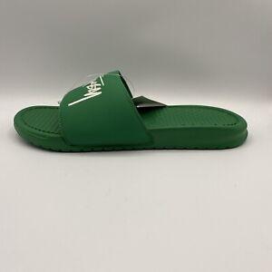 NEW-Nike-Benassi-Stussy-Slides-Sandals-Pine-Green-Sail-DC5239-300-Size-11