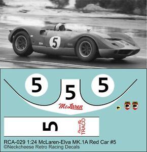 1:24 Decals for McLaren-Elva Mk.1A  #5 red factory car