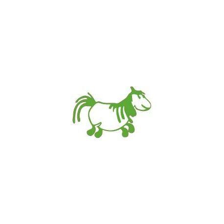Pottok Cheval autocollant sticker adhesif Taille:12 cm couleur : vert