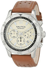 Nautica Men's NST 21 Chrono 100m Stainless Steel Brown Leather Watch NAD16545G