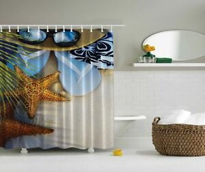 Image Is Loading Tropical Seaside Shower Curtain Beach Starfish Flip Flop