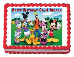 Sensational Mickey Mouse Clubhouse Party Edible Cake Topper Decoration Personalised Birthday Cards Veneteletsinfo