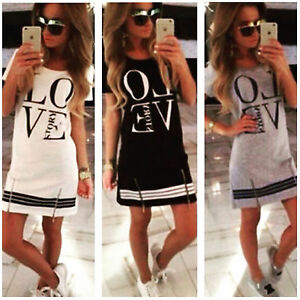 AU-Women-Love-Printed-Short-Mini-Dress-Summer-Beach-Long-Tops-Shirt-S-M-L-XL