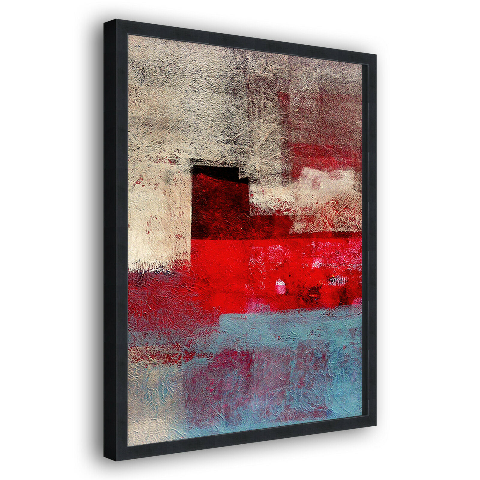 rot Blau Retro Modern Portrait Abstract Framed Wall Art Large Picture Print