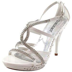 New-women-039-s-shoes-rhinestones-stilettos-buckle-party-prom-wedding-formal-white